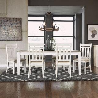 Summerville Soft White Wash and Grey 7-piece Rectangular Table Set