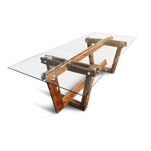 FROMM Dining Table - Aged wood/Glass