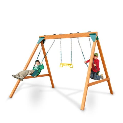 """Swing-N-Slide Ranger Wooden Swing Set with 2 Swing Seats and Trapeze/Ring Combo - 104""""L x 92""""W x 82""""H"""