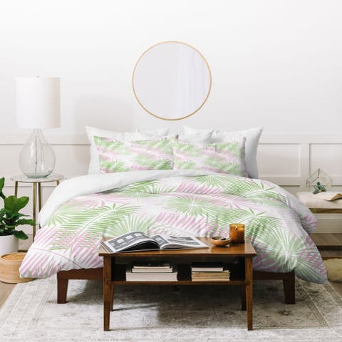 Deny Designs Pink and Green Palms Duvet Cover Set (3 Piece Set)