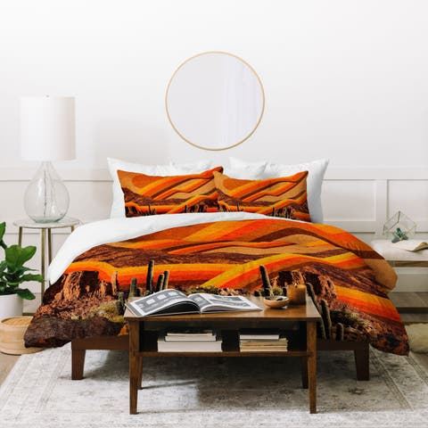 Deny Designs Retro Desert Cactus Duvet Cover Set (3 Piece Set)