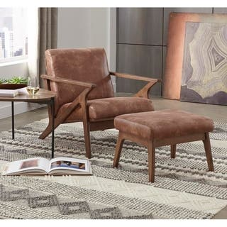 Simple Living Bianca Brown Faux Leather Upholstered Chair and Ottoman Set