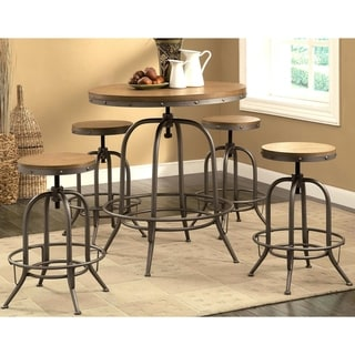 Nostalgic Weathered Dark Oak Wood Adjustable Bar Table and Stools 5-piece Set - 1-Table, 4-Stools