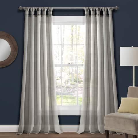 Porch & Den Alsea Burlap Knotted Tab Top Window Curtain Panel Pair