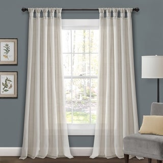 "Porch & Den Alsea Burlap Knotted Tab Top Window Curtain Panel Pair 84"" In Dark Linen (As Is Item)"