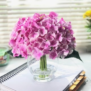 Enova Home 10 Stem Purple Silk Hydrangea Flower in Round Clear Glass Vase with Faux Water