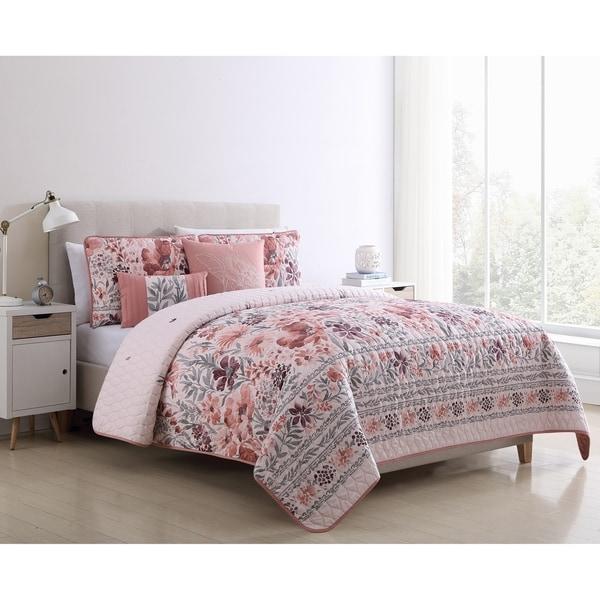 VCNY Home Gracey Blush Floral Quilt Set