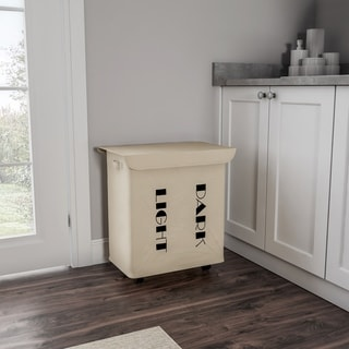 Double Laundry Hamper with Lid and Wheels-Two-Sided Sorter with Handles by Lavish Home (Beige)