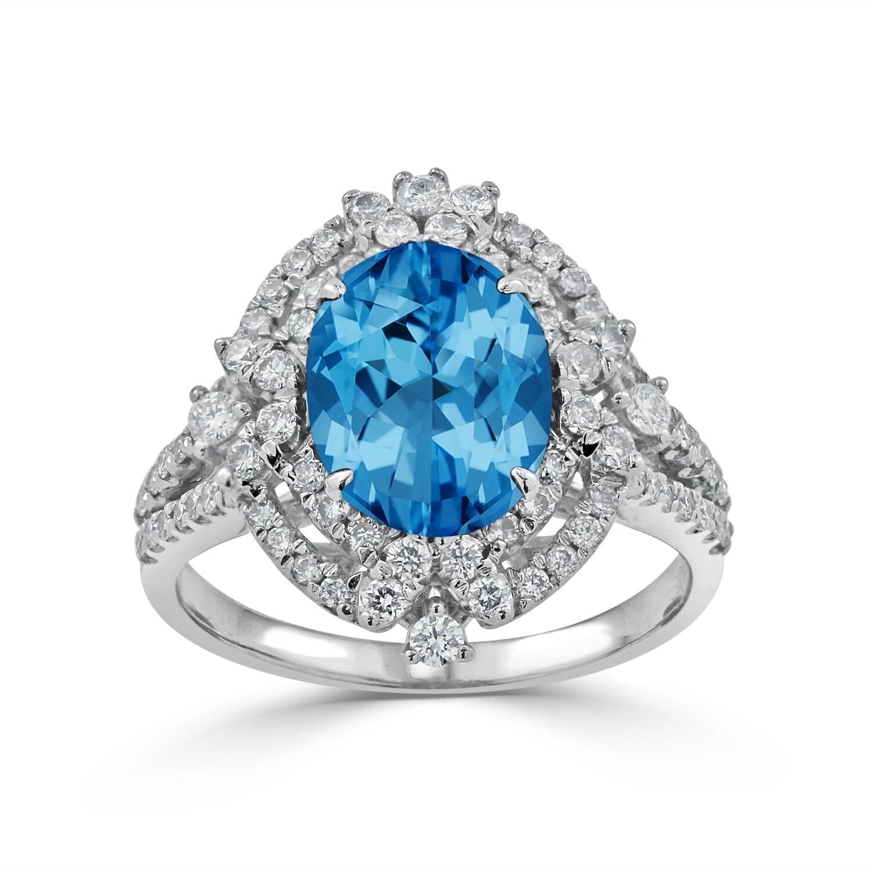 Auriya 3 1/5ct Oval Topaz Gemstone and 3/4ctw Double Halo Diamond Engagement Ring 18K Gold (4.5)