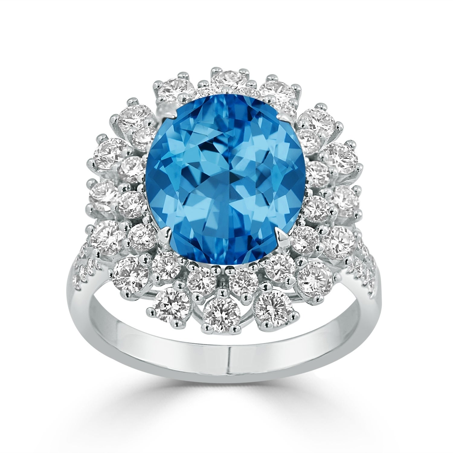 Auriya 4 3/4ct Fancy Oval-cut Swiss Blue Topaz and 1 3/8ctw Halo Diamond Engagement Ring 18K Gold (6.5)