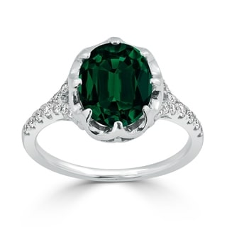 Auriya 2 1 2ct Oval Green Emerald And Diamond Ring 1 4ctw 18K Gold