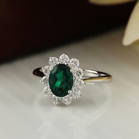 Auriya 1 1/8ct Oval-cut Emerald and Halo Diamond Ring 5/8cttw 18K Gold