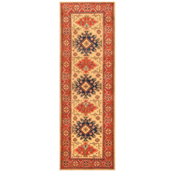 Handmade One-of-a-Kind Kazak Wool Runner (Afghanistan) - 2'8 x 8'4