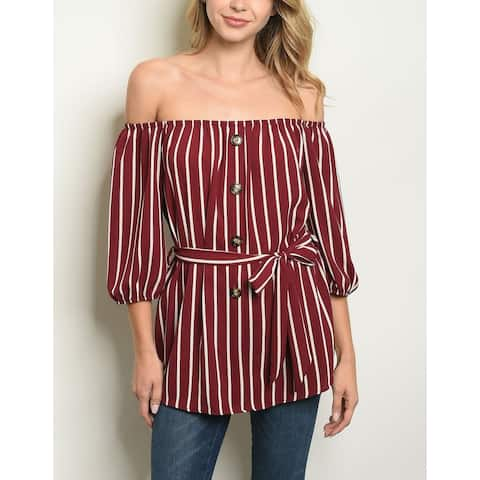 JED Women's Off-Shoulder Striped Top with Waist Tie