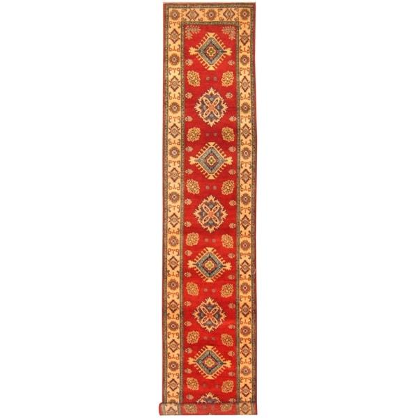 Handmade One-of-a-Kind Kazak Wool Runner (Afghanistan) - 2'8 x 14'10