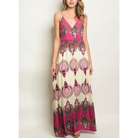 JED Women's Paisley Print V-Neck Maxi Dress