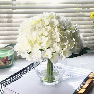 Enova Home 10 Stem Cream Silk Hydrangea Flower in Round Clear Glass Vase with Faux Water