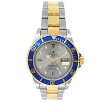 Pre-owned 40mm Rolex 18k Yellow Gold and Stainless Steel Submariner Watch with Silver Serti Dial