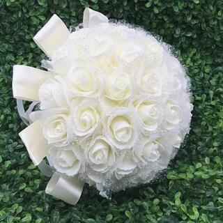 Enova Home 2 Pack Cream White Artificial Rose Flower Wedding Bridal Bouquet