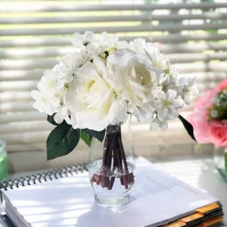 Enova Home Cream Silk Rose and Mixed Flower Arrangements in Clear Glass Vase with Faux Water