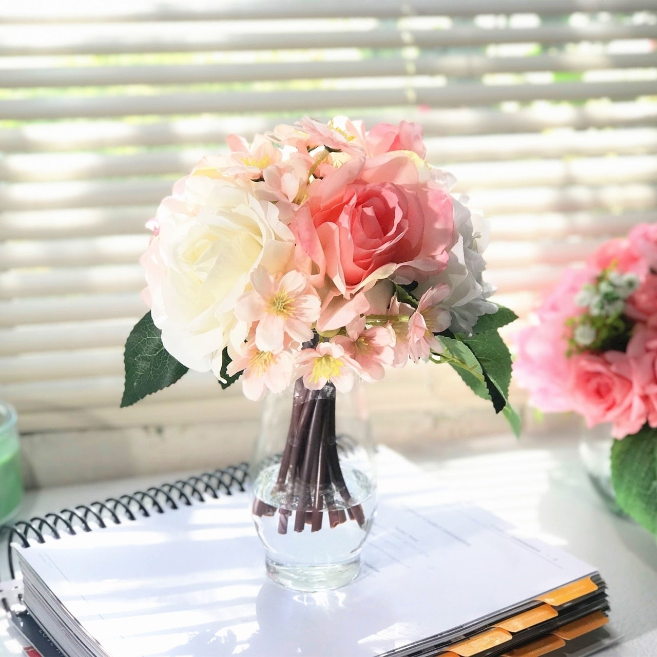 Enova Home Pink And Cream Silk Rose And Mixed Flower Arrangements In Clear Glass Vase With Faux Water Pink And Cream Overstock 28057048