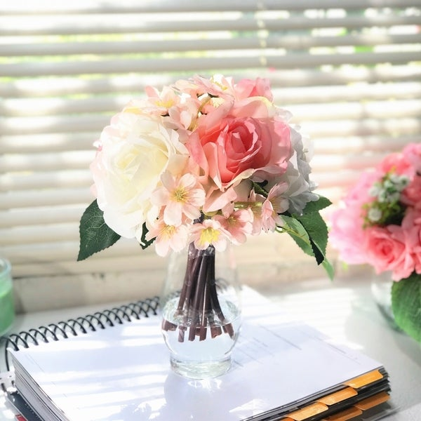 Enova Home Pink and Cream Silk Rose and Mixed Flower Arrangements in Clear Glass Vase with Faux Water - Pink and Cream. Opens flyout.