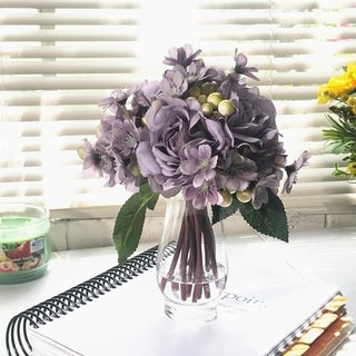 Enova Home Purple Silk Rose and Mixed Flower Arrangements in Clear Glass Vase with Faux Water