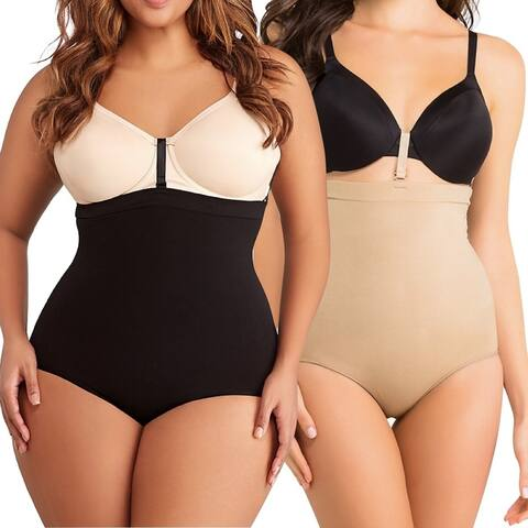 Women's High-Waisted Compression Shaping Briefs with Bra Hooks