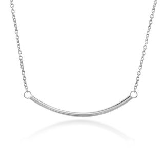 Handmade Modern Stylish Curved Bar Sterling Silver Pendant Necklace Thailand