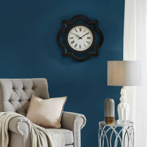"Madison Park Lucca Metal Wall Clock with Glass 2-Color Option - 23.5""L x 2.4""W x 24""H"