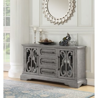 Spacious Pine Wood Server with Bracket Leg and Scrolled Motif, Gray