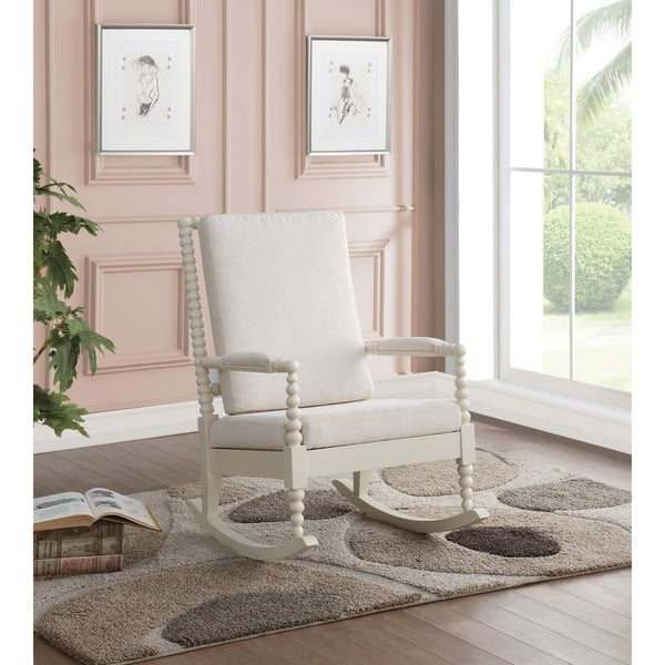 Taylor & Olive Hydrangea White Wood Rocking Chair with Cushions. Opens flyout.