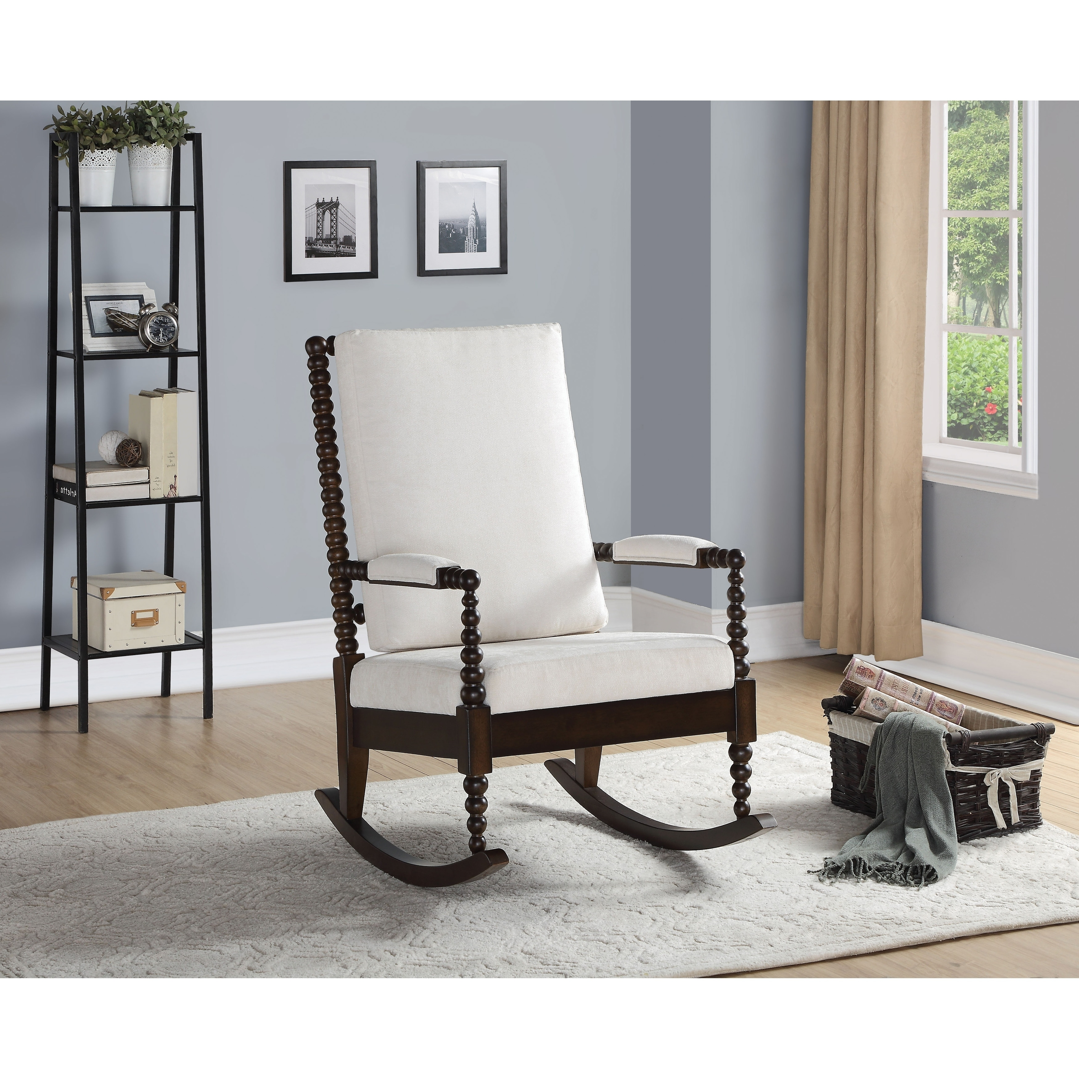 Tremendous Wooden Rocking Chair With Fabric Upholstered Cushions White And Brown Evergreenethics Interior Chair Design Evergreenethicsorg