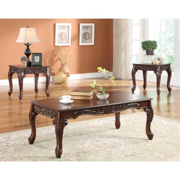 Shop Wooden Coffee Table and End Table Set with Decorative ...