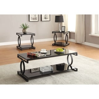 Metal and Glass Coffee Table Set with Two End Tables, Pack of Three, Black