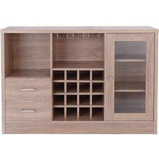Contemporary Wooden Server with One Side Door Storage Cabinets and Two Drawers, Brown