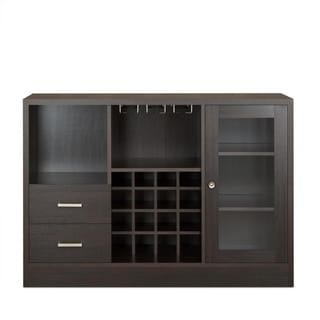 Wooden Server with One Side Door Storage Cabinets and Two Drawers, Espresso Brown