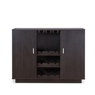 Wooden Server with Two Side Door Storage Cabinets and Stemware Rack, Espresso Brown