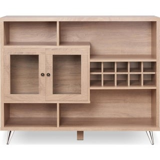 Contemporary Wooden Server with Four Open Compartments and Metal Tapered Legs, Brown