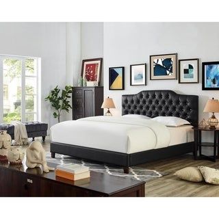 Copper Grove Pontault Black Faux Leather and Wood Platform Bed with Button-tufted Headboard
