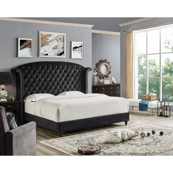 LILOLA Lexington Black Velvet Bed. Opens flyout.