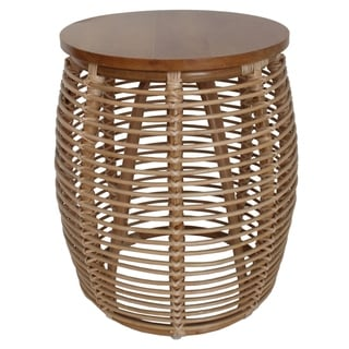Iris Brown Rattan/Pinewood Round End Table