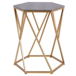 Link to Cressa Goldtone and Grey Faux Shagreen and Metal Modern End Table Similar Items in Living Room Furniture