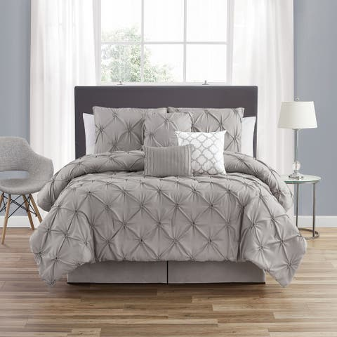 Smocked Circle Gray Embellished 7-Piece Comforter Set