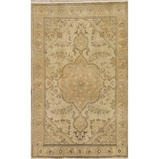 "Vintage Tabriz Muted Hand Knotted Wool Distressed Persian Area Rug - 4'11"" x 3'0"""