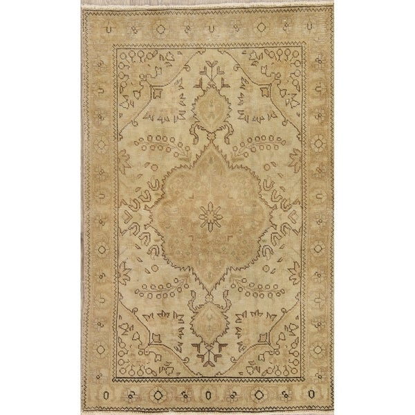 """Vintage Tabriz Muted Hand Knotted Wool Distressed Persian Area Rug - 4'11"""" x 3'0"""""""