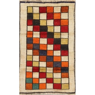 """Vintage Gabbeh Checked Hand Knotted Wool Oriental Persian Area Rug - 4'10"""" x 3'0"""""""