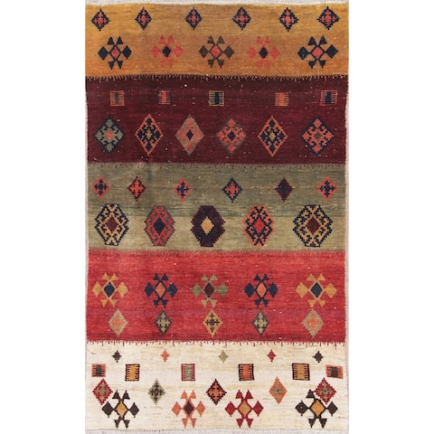 "Gabbeh Tribal Hand Knotted Wool Oriental Persian Area Rug - 5'10"" x 3'7"""