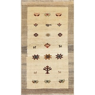 "Gabbeh Tribal Geometric Hand Knotted Wool Oriental Persian Area Rug - 4'9"" x 2'9"""
