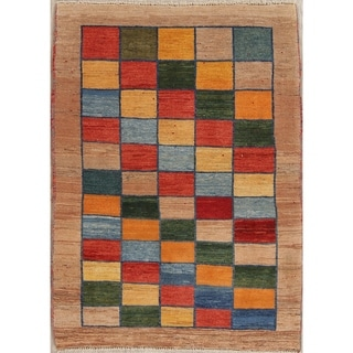 """Gabbeh Checked Hand Knotted Wool Oriental Persian Area Rug - 5'0"""" x 3'7"""""""